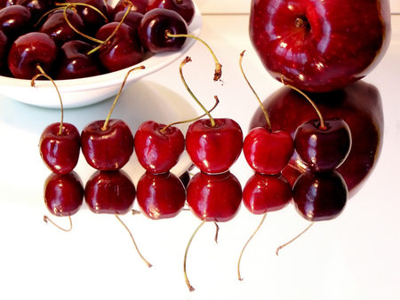 Cherries - cherries, reflection, abstract, cherry, fruit, photography, fruits, delicious, red, apple