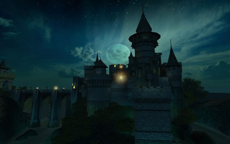 Ancient Castle - cool, midieval, ancient, screenshot, dark, knight, moat, moon, bridge, 3d, castle