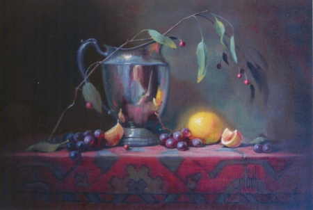 The Artist - table, grapes, red, leaves, berries, floral, pitcher, cloth, stainless, lemons, twig
