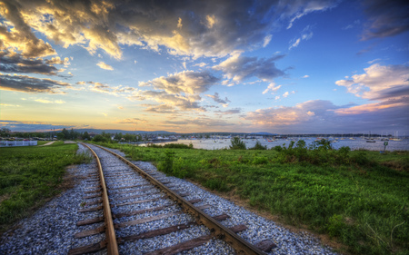 Sunset Tracks - tracks, ocean, sunset, train