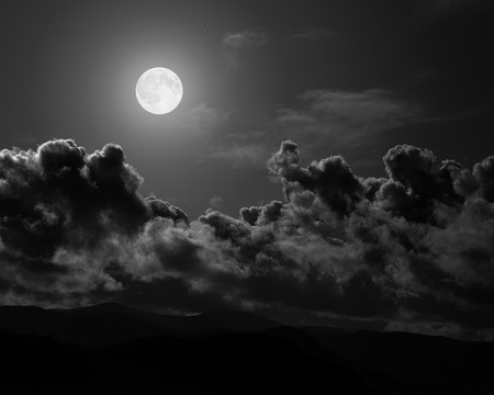 moon - dark, clouds, black, moon, sky, night
