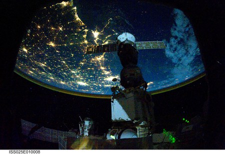 Night Lights - iss, space, earth, globe, night, lights, human space flight