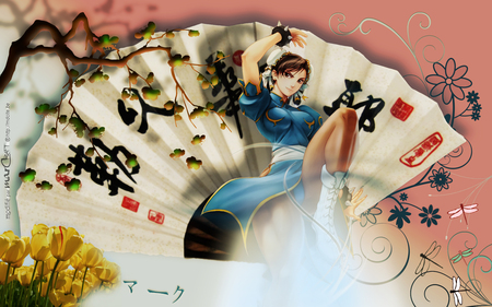 Chun Li - wings, abstract, sexy, anime, video game, girl, female, fighter, oriental, flower, wing, tulip, fantasy, chinese word, game, cute, dragon fly, street fighter, fan, yellow tulip, anime girl, hot, chinese