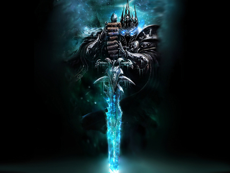 the lich king - blue, sword, lich, king
