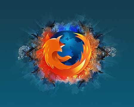 Abstract Firefox - blue, firefox, fire, fox