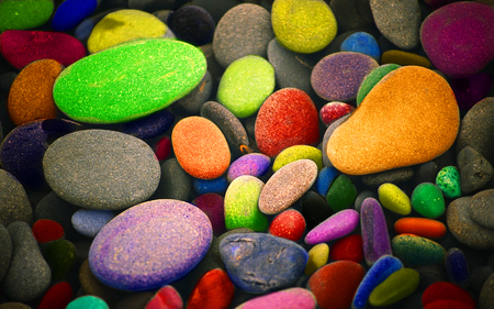 pebbles - abstract, color, nature, rainbow
