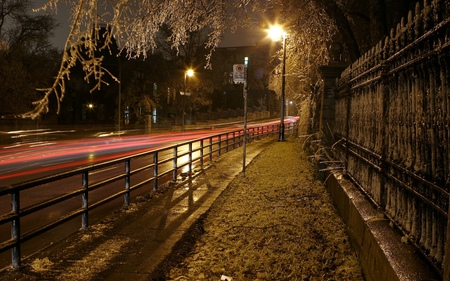 Nite road - hdr, road, lights, night, wall, trees, fence