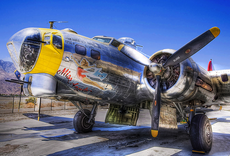Old Airplane - war, plane, hot, props, yellow, hdr