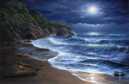 Night Lights - hills, waves, dark, rough, lights, camp, moon, logs, white caps, rocks, fire, blue, sky, water, sand, cliffs, clouds, beach