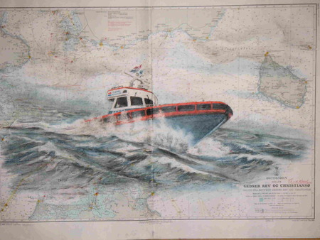 De Redder - sea map, boat, action, rescue, waves, red