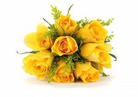 Yellow rose bouquet - bouquet, rose, yellow, flower, white