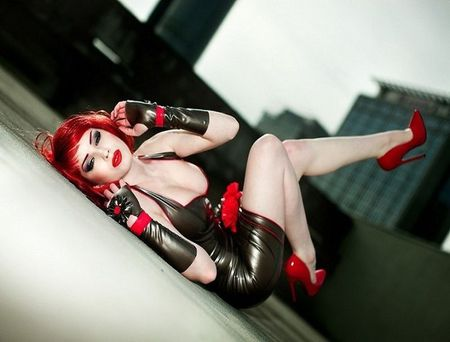 latex dress, red shoes redhead - hair, latex, red, woman, black, dress, shoes, model, lips