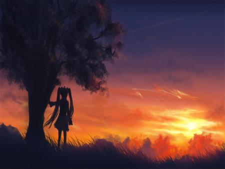 Looking at the Sunset - cool, twintail, clouds, program, nice, girl, anime, hatsune miku, night sky, vocaloid, sunset, beauty, scenary, miku, tree, cute, horizon, diva, beautiful, pretty, idol, sky, virtual, orange, hatsune, skirt, vocaloids, awesome