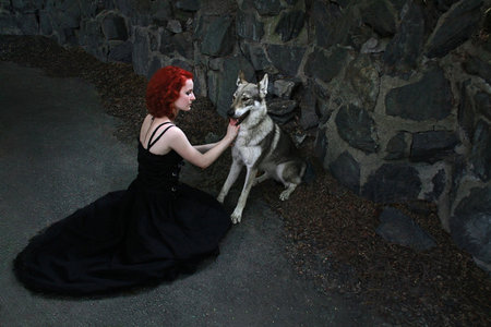 GOTHIC WOMAN AND WOLF DOG - dog, dark, gothic, woman