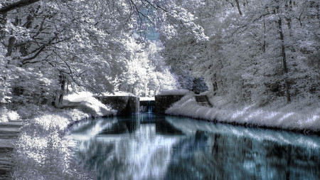 Winter Scenery - trees, river, blue, ice, water, snow, white, forest, nature, winter