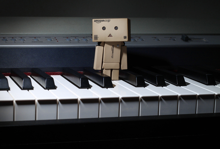 Danbo On The Piano - piano, robot, box, danbo