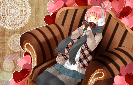 Happy Valentines Day! - cool, beautiful, pink, pretty, beauty, anime, girl, nice, virtual, awesome, diva, luka, megurine, valentines, chocolate, headset, program, headphones, brown, cute, megurine luka, hearts, idol, choco, vocaloids, mittins, scarf, vocaloid