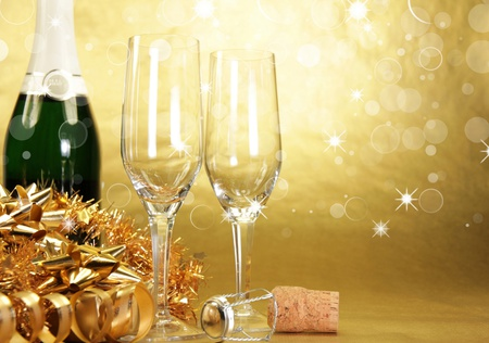 Champagne - beautiful, wine, pretty, beauty, xmas, magic, bottle, champagne, glass, gold, holiday, gift, happy new year, new year, lovely, merry christmas, christmas, golden, photography, glasses