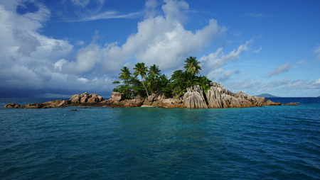 beautiful island - cool, clouds, nice, rocks, nature, trees, sea, quiet, island, beautiful, beach, palm, sky, pleasant, ocean