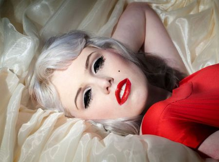 RED LIPS - MM - mm, pretty, look alike, saten, woman, silk, red, lips, blond, dress