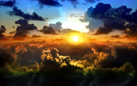 Dreamy Clouds - clouds, sky, cloud, blue, sun, golden