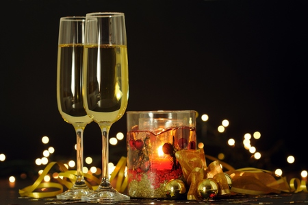 Happy New Year - balls, beautiful, wine, pretty, beauty, xmas, magic, champagne, glass, gold, holiday, happy new year, candle, candles, new year, colors, lights, lovely, merry christmas, christmas, ball, golden, light, photography, glasses