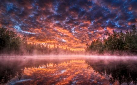 Magic lake - cool, lake, amazing, beautiful, sky, landscape, clouds, nature, colourful