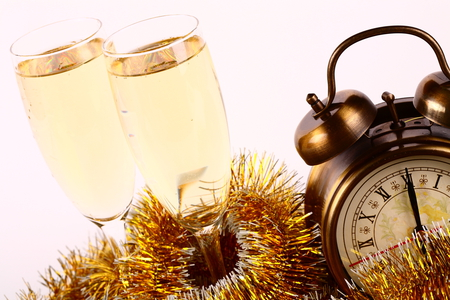 Happy New Year - drink, photography, clock, nice, merry christmas, champagne, beautiful, cool, holiday, cups, garlands, happy new year