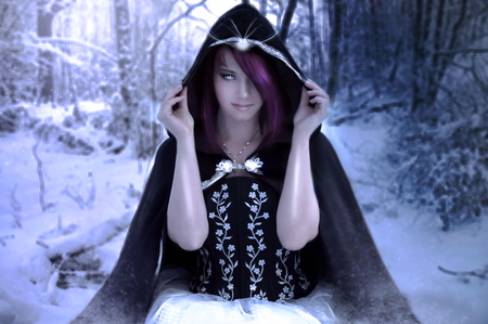 Winter queen - girl, queen, winter, fantasy