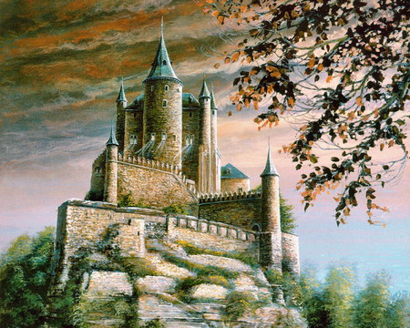 Painting Medieval Castle - walls, clouds, tower, rock, branches