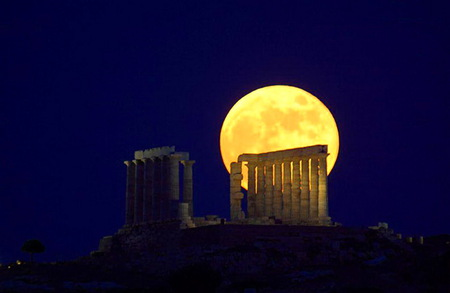 Greecian moon - full moon, greece, ruins, dark sky, yellow, night