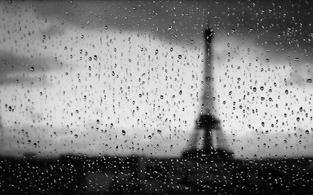 Rainy Paris - rain, paris, black and white, view, architecture