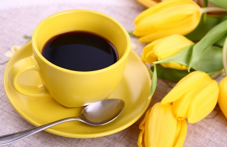 Another Cup Of Coffee - flowers, cup, beautiful, coffee, pretty, lovely, tulips, beauty, yellow, yellow tulips, nice, photography, still life, cup of coffee, tulip, nature
