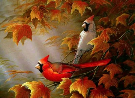 Autumn Cardinals - leaves, cardinals, orange leaves, fall, autumn, birds