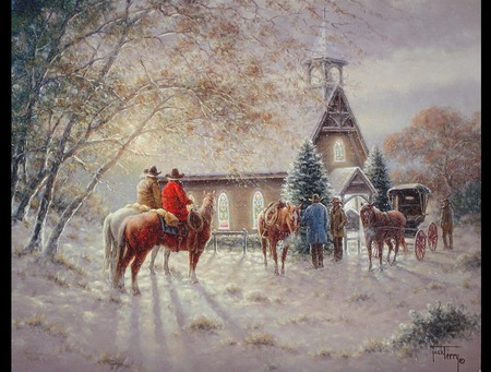 Cowboy Christmas - beautiful, night, old fashion, snow, buggie, tradition, woods, trees, good days, country, church, service, cowboys, horses, chapel, men, winter