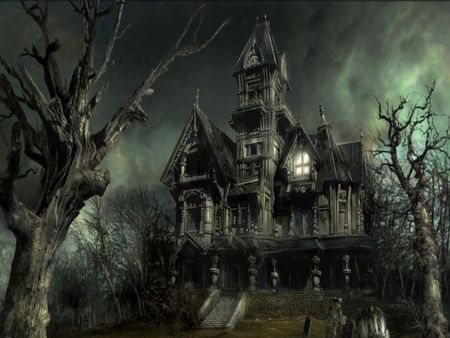 Scary Mansion - halloween, old, tree, mansion, dark, light, creepy, house, fog, scary, mz