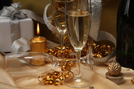 Happy New Year - cool, photography, champagne, nice, merry christmas, candle, box, happy new year, gift, holiday, harmony, photo, ribbon, garland, golden, glasses, beautiful