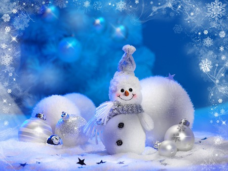 Snowman - balls, beautiful, blue, pretty, beauty, xmas, magic, stars, magic christmas, nice, smile, snow, white, holiday, snowballs, happy new year, snowball, new year, frosty, cute, silver, lovely, decorations, merry christmas, happy, christmas, ball, photography, winter, sweet, snowman