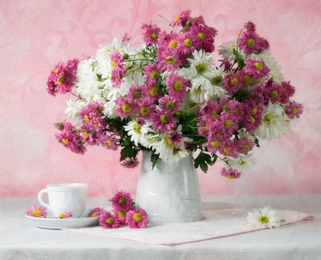 Tea Time - table, tea time, still life, delicate, nice, glyn, lovely, white, tea, red, pink, harmony, cup, flowers, pretty, vase, daisies
