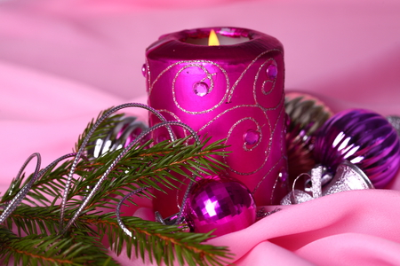 candle - happy new year, cool, decoration, balls, candle, beautiful, pink, merry christmas, purple, nice, photography, gentle, elegantly, holiday