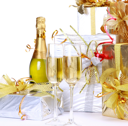 Happy New Year - happy new year, cool, gifts, beautiful, merry christmas, nice, photography, drink, gentle, champagne, glasses, elegantly, holiday, box