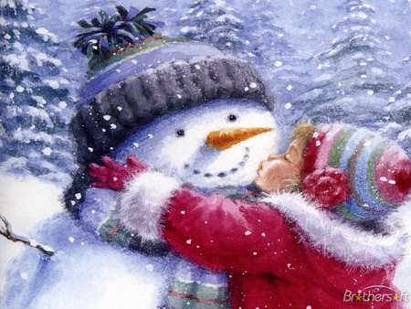 All I Want For Christmas Is You - memories, hats, outside, girl, cold, snow, love, stones, kiss, coats, trees, carrot, flakes, christmas, pines, scarf, jolly, winter, snowman