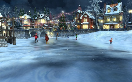 Small Town Christmas - 3D and CG & Abstract Background Wallpapers ...