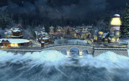 Christmas in the village 3d and cg abstract background - Christmas village wallpaper widescreen ...