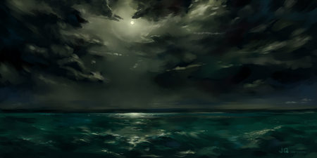 The Sea - sea, clouds, jq, dark, dimmed out sun, anime
