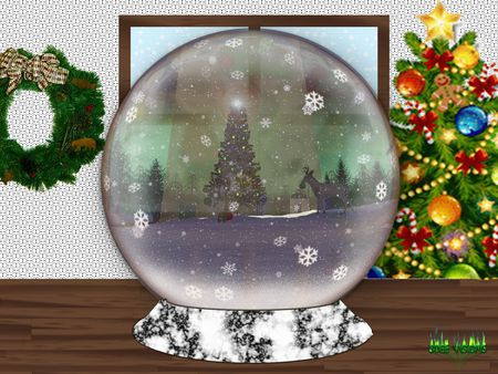 Christmas Snowglobe 001a - snowflake, globe, christmas, snowglobe, decorations, tree, forest, snow, animals, ice, wreath, glass, xmas