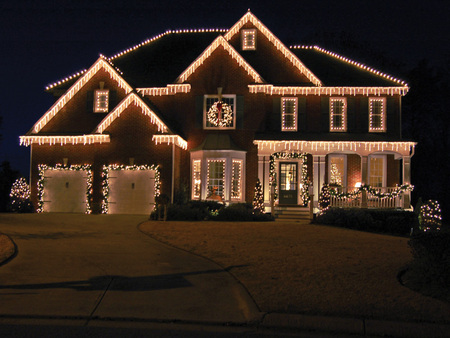 House Decorated For Christmas house decorated for christmas - houses & architecture background