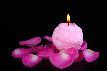 candle - petals, cool, still life, photography, pink, nice, black, photo, candle, beautiful