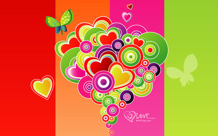 wallcomm vector - wallpaper, valentine, colorful, vector