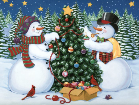 Snowman couple - 3D and CG & Abstract Background ...